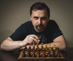 shall we begin (Sagittarius_photography) Tags: chess game man play portrait selfie strategy table wood