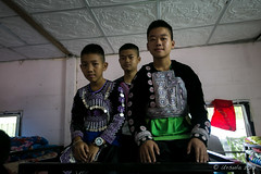 Hmong Boys on a Bunkbed 6062 (Ursula in Aus) Tags: hilltribeeducationprojects maehongson thep thailand santisukschool hilltribe children schoolchildren traditional traditionaldress