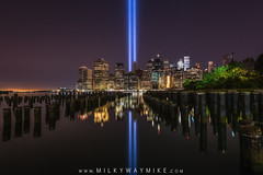 The Stix Tribute In Light (Mike Ver Sprill - Milky Way Mike) Tags: sticks stix pilings pier tribute light memorial 911 september 11th 11 eleven nine never forget tragic anniversary mike ver sprill michael versprill d810 nikon long exposure landscape cityscape new york city nyc brooklyn dumbo park reflections reflection reflect lights twin tower manhattan