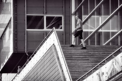 triangle (vanderwoud1) Tags: triangle man danger bw blue reflection glass geometry