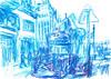 CALLE ALCALA, BOCA DE METRO DE LA ESTACIÓN DE SEVILLA DE LA LINEA 2- MADRID (GARGABLE) Tags: callealcala madrid angelbeltrán apuntes drawings dibujos gargable lápicesdecolores azul