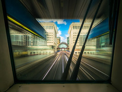 #DLR30 I'm Driving! (Deviant Light) Tags: dlr30 keolis amey docklands heronquays canary wharf dlr docklandslightrailway frontseat motionblur london uk 43