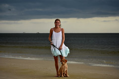Light in the Dark. (Hollingsworth18) Tags: woman pretty beautiful puppy lab labrador sea water gulfcoast