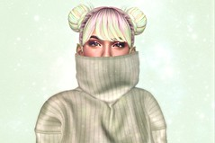 | See Green | (Xaqueline) Tags: sl secondlife avatar buns minibuns catwa egozy taketomi valentinae sweater whimsical pastels pastelhair