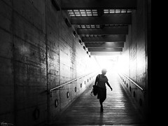 Back from a hard working day (René Mollet) Tags: underground backlight woman silhouette shadow streetart street streetphotography station sbb streetphotographiebw sunrise step blackandwhite bw urban candite renémollet swiss