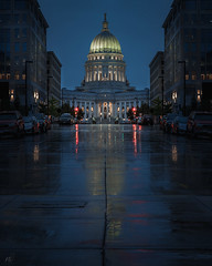 Beautiful Rain (Nenad Spasojevic) Tags: movement urban sonyalpha states fun rush street clouds bluehour capitol travel citylights rain exploration nenadspasojevic capitolbuilding reflection nenadspasojevicart 2017 sony wi euphoria longexposure urbanexploration storm city tones zeiss madison usa wisconsion chicago illinois il