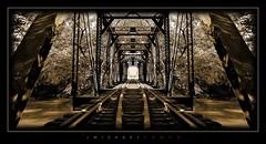Iron Symmetry (J Michael Hamon) Tags: railroad railway train bridge testle iron symmetry toned sepia monochromatic monochrome hamon nikon d3200 sigma 1020mm photoborder vignette outdoor perspective vanishingpoint angles widescreen