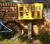 New & old (falkmo) Tags: city urban street blaugelb kaugummiautomat kaugummi rad yellow blue chewinggum bike