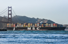 msc at torpedo wharf (pbo31) Tags: sanfrancisco california nikon d810 color september 2017 summer goldengatenationalrecreationarea blue bay boury pbo31 goldengatebridge 101 bridge presidio crissyfield msc container ship shipping port imports sail sunset westcoast