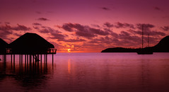 Mo'orea Sunset (byron bauer) Tags: byronbauer moorea sunset sky clouds ocean pacific sea silhouette island stilt house hut reflections color seascape elitegalleryaoi bestcapturesaoi aoi