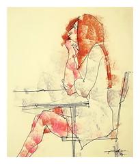 P1017067 - Copy (Gasheh) Tags: art painting drawing sketch portrait figure girl line pen color pastel gasheh 2017