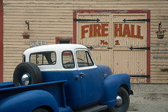 Fire Hall (joeinpenticton Thank you 1.5 Million + views) Tags: sandon fire hall number one 1 no bc british columbia antique chev gmc chevrolet joeinpenticton joe jose garcia kootenay kootenays west ghost towns town pickup truck pick up 5 five window roadtrip road trip rustic