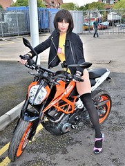 No skirt still on bike (Miss Nina Jay) Tags: trannie socks heels