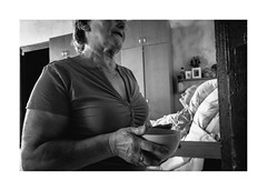 Daughter and mother (Jan Dobrovsky) Tags: story leicaq retirementhome monochrome care indoor people life blackandwhite human humanity social age document