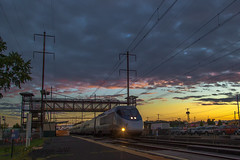 Racing The Sunset (Darryl Rule's Photography) Tags: 2017 acs64 amtrak bw blackandwhite buckscounty catenary citiessprinter clouds cloudy eastboundwestbound electric levittown necorridor northeastcorridor pa pc prr passenger passengertrain penncentral pennsy pennsylvania railroad railroads rain rainy septa september siemens station summer sunset train trains tullytown