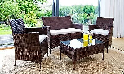 EBS 4 Piece Outdoor Garden Rattan Patio Wicker Furniture Lawn Set White Cushions LoveSeat + Glass Top Coffee Table Sets – Black Finish For Sale
