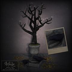 Refuge - Deathly Tree Ad (Iseul Kim | Refugestore Resident | Refuge) Tags: refuge secondlife salem halloween raven crow sparkle glitter glow autumn dead