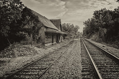 By the Tracks (Back Road Photography (Kevin W. Jerrell)) Tags: silverefexpro2 limestone tennessee backroadphotography nikond60 depot railroad tracks daysgoneby historic dilapidated oldbuildings country rural