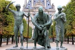 Jardin des Tuileries # 2 Les Fils de Caïn by just.Luc - Statue group by Paul Landowski in the Jardin des Tuileries in Paris, France. Ce groupe en bronze représente Jabel, le berger, Jubal, le poète et Tubalcaïn, le forgeron. Une inscription les décrit. « N'est-ce pas là toute l'humanité. L'homme des champs, le poète, l'ouvrier des villes » (Journal 1903). Il s'inspire de trois jeunes tunisiens qu'il rencontre lors d'un voyage, marchant ainsi « fraternellement unis (…) marchant d'un seul bloc, sans aucun sentimentalisme ».