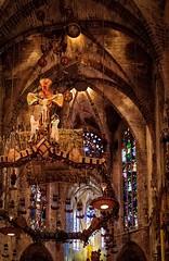 Opus Dei Est (Rice Bear) Tags: atlantisevents catedraldemallorca hdr palmademallorca spain altar apse cathedral church colors cross crucifix stainedglass palma illesbalears es