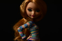 Annie (jessandgrace) Tags: doll portrait colorimage colors closeup sweater handmade dollclothes knitwear figure blackbackground face eyes greeneyed hair ginger blonde golden ashlynnella everafterhigh eah pretty glamour beauty cute indoor