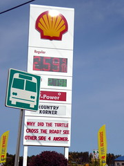 Why did the turtle cross the road (yooperann) Tags: shell gas station riddle gwinn michigan upper peninsula bus stop