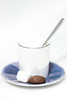 Macchiato and a minimalist cookie (D_Snapper) Tags: coffee cafe macchiato koffie cookie sugar spoon saucer blue cup canon100mm28lmacro food drink canon eos 5d 5div 5d4 100mm highkey kopje koekje