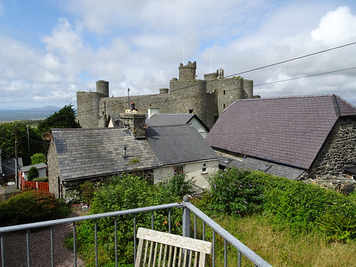Harlech Castle seen from a café