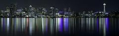 Seattle across Lake Union (whk1992) Tags: neon night lake skyline reflection seattle long building light city downtown