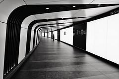 Subterranean Gallery (Douguerreotype) Tags: london monochrome futuristic people blackandwhite tube uk underground british urban mono city tunnel britain subway metro bw gb england