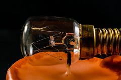 Candle and Lightbulb (Miasura) Tags: candle kerze orange golden glass macro docht wick wachs wax