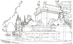 Paris, place du Châtelet (gerard michel) Tags: france paris fontaine châtelet sketch croquis