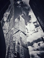 Moscow City nice clouds (NO PHOTOGRAPHER) Tags: hochhaus gebäude cityscape skyline detail construction blackandwhite monochrome architecture architectural urban building outdoor iphoneography iphonephotography exterier russia moscowcity technoart sky clouds blue skycraper iphone 6s panorama panoramatic москва россия архитектура строительство река мост moscowphotography