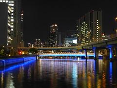 Downtown Osaka by Night (m_artijn) Tags: aji river osaka downtown jpn night lights blue reflection hirise