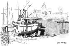 2017-09 Port Taranaki (gnyp) Tags: roulette fishing boat new plymouth zealand port taranaki gnyp sketch drawing