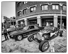 1931 Ford Model A hot rod & 1969 Pontiac GTO convertible (kenmojr) Tags: 2017 antique atlanticnationals auto car classic moncton newbrunswick show vehicle vintage centennialpark downtown kenmo kenmorris carshow bw blackwhite blackandwhite wideangle fisheye bower8mm nikon d7000 1931 ford modela hotrod flames flamed 1969 pontiac gto convertible bwworldwithnikon