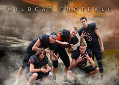 Wildcat Football (Jenny Onsager) Tags: photoshop sports team banner field lights football wildcats wildcat highschool smoke tough boys teensboys seniors