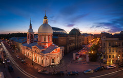 The Generous Soul   St. Petersburg, Russia (v on life) Tags: stpetersburg saintpetersburg russia church sunset pano panorama panoramic clouds light cars longexposure cartrail cartrails санктпетербург россия питер bluehour
