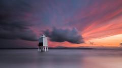 Burnham-on-Sea Low Lighthouse (oliver.herbold) Tags: burnhamonsea lighthouse leuchtturm somerset bristolchannel bridgwaterbay beach strand tide flut sunset sonnenuntergang colours farben longexposure langzeitbelichtung drama mood stimmung light licht oliverherbold