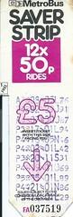 West Yorkshire PTE MetroBus Saver Strip - 12 x 50p Rides (Faversham 2009) Tags: bus wypte ticket 50p scan scanned westyorkshirepassengertransportexecutive west yorkshire yorks buses metrobus saverstrip