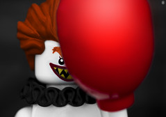 IT (jezbags) Tags: lego legos toys toy minifigure minifigures macro macrophotography macrodreams macrolego canon60d canon 60d 100mm closeup upclose clown red balloon scary fear