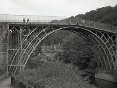 iron crossing (OhDark30) Tags: olympus 35rc 35 rc film 35mm monochrome bw blackandwhite bwfp fomapan 200 rodinal ironbridge first iron bridge telford river severn gorge drizzle