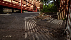 Front Entrance Ramp (Theen ...) Tags: 1885 adelaide bars brick criminallyinsane front garden gate glenside lumix mentalhospital nationaltrust ramp red shadows slope stripes theen trees windows zward