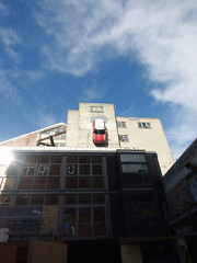 Using the Shortest Route Option on the Sat Nav (Steve Taylor (Photography)) Tags: tru goingdown mini solsquare building red white tag newzealand nz southisland canterbury christchurch cbd city car automobile cloud sky