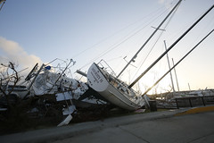 Damaged yachts in the marina of Nanny Cay on the British Virgin Island of Tortola. The Caribbean island suffered widespread damage and destruction when Hurricane Irma passed over on 6 September 2017.