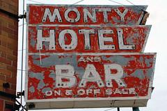 Minnesota, Montgomery,  Monty Hotel And Bar (EC Leatherberry) Tags: sign lesueurcounty minnesota montgomeryminnesota montyhotelandbar