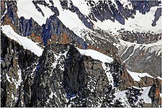 Le côté est du Massif du Mont Blanc depuis l'Aiguille du Midi (3842m), Haute Savoie, Alpes, France