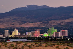 The Biggest Little City in the World|Reno, Nevada (miltonsun) Tags: thebiggestlittlecityintheworld reno nevada skyline longexposure dusk landscape outdoor sky mountains evening sunrise sunset nightphotography nightscene summer i80