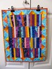 'Coins in the Sun' modern small quilt, freestyle quilted by Janie 2017 (crazyvictoriana) Tags: improvisational modern batiks coin quilt orange turquoise triangles strips liberated abstract mariposa freestyle quilted