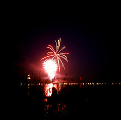 7.3.17 Fireworks Loon Lake Rollei E6 E08 (Jcicely) Tags: 2017 e6 fireworks fourthofjuly july loonlake loonlakewithmarvin reflection rollei sky water